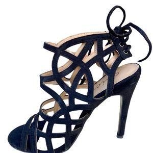 NWT Chic Black Suede Alice Tie Heels